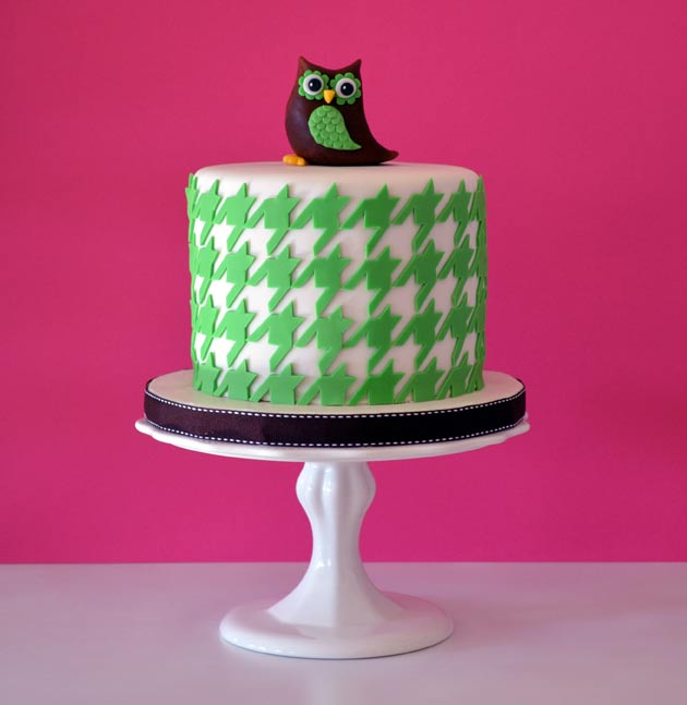 Owl Cake with Houndstooth