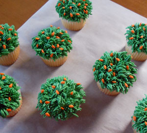 Grass Cupcakes with Carrots