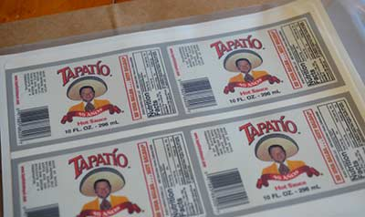 Edible frosting sheet Tapatio labels