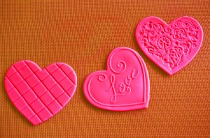 Embossed fondant hearts