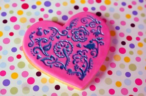 Painted Baroque Heart Cookie