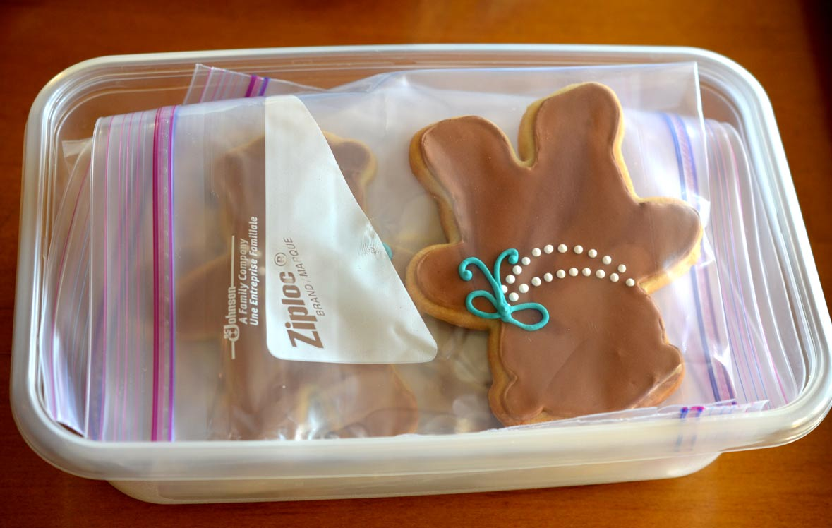 Cookies packaged for freezer