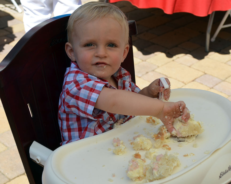 Hudson eating cake