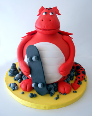 Skate Boarding Dragon Cake