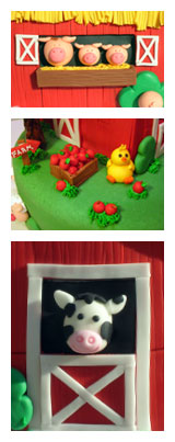 Fondant Animals on Farm Cake