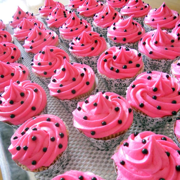 Mini pink velvet cupcakes