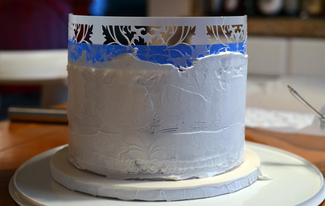 Stencil with royal icing